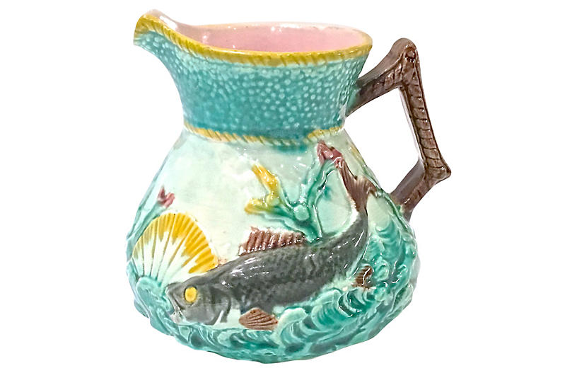 Antique Sea Life Majolica Pitcher