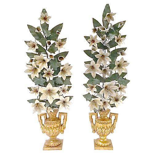 Tole Floral & Urn Garnitures, S/2