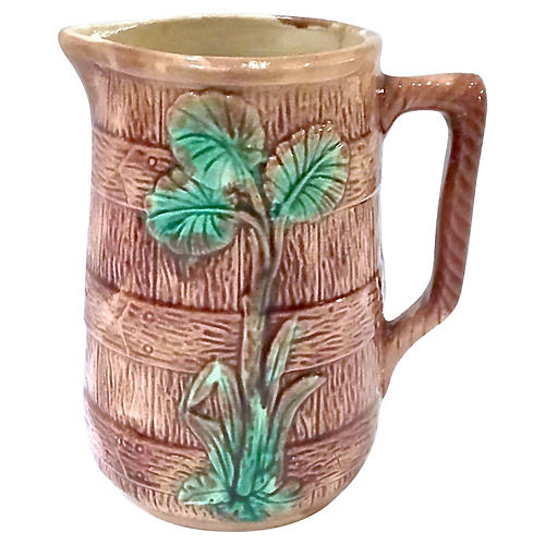 Antique Majolica Leaf & Barrel Pitcher