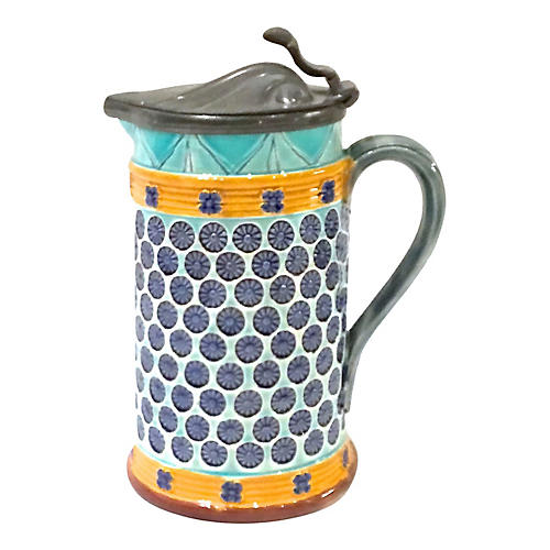 Antique Majolica & Pewter Beer Stein