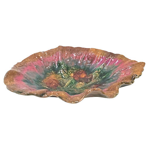 Antique Etruscan Majolica Leaf Bowl