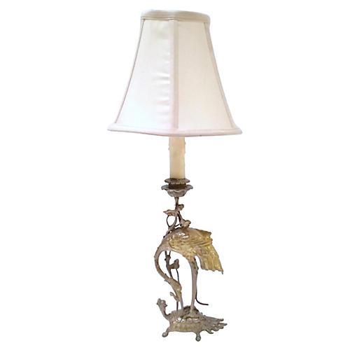 Antique Brass Crane & Turtle Lamp