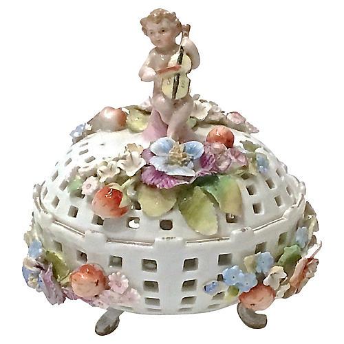 Dresden Porcelain Cherub & Floral Jar