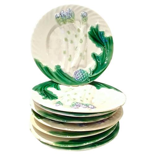 Majolica Asparagus Plates, S/8