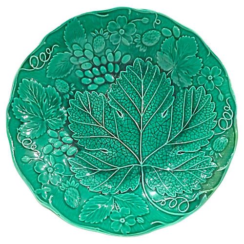 English Majolica Berry & Leaf Plate