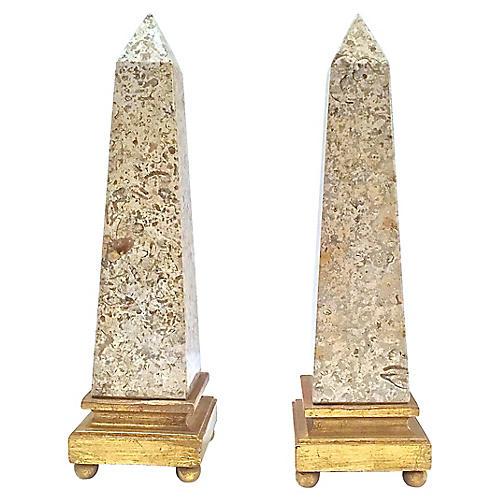 Beige Granite Obelisks, Pair
