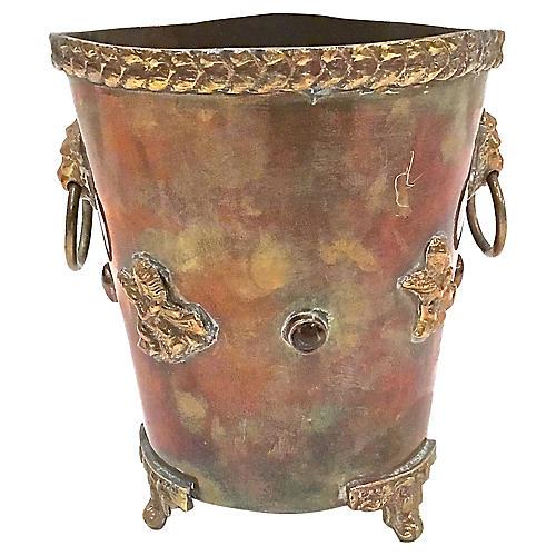 Antique Brass & Copper Lion Cachepot