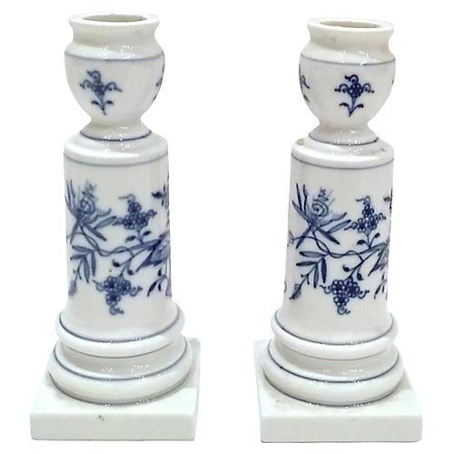 Meissen Floral Candleholders, Pair