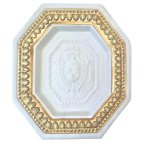 Mottahedeh Bisque Porcelain Crest Plate