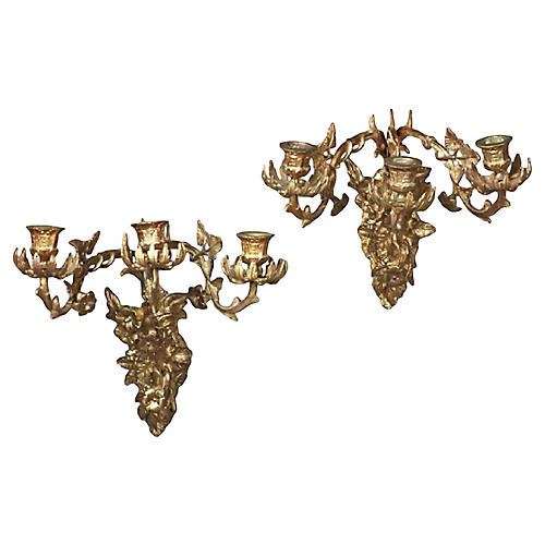 Brass Acanthus Leaf & Floral Sconces, Pr