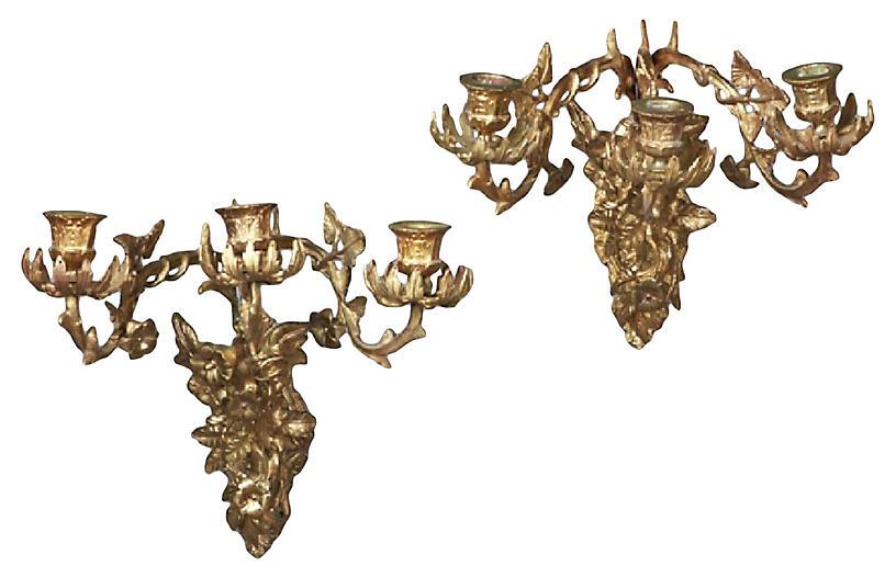 Brass Acanthus Leaf & Floral Sconces, Pr