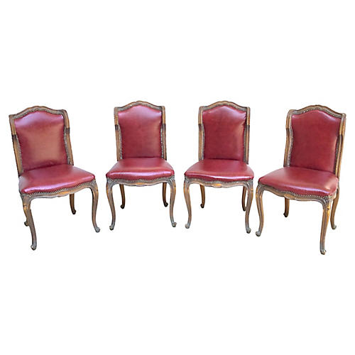 Red Leather Gaming Chairs, S/4