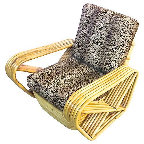 Midcentury Rattan & Leopard Club Chair