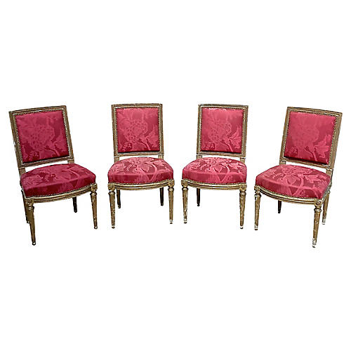 Louis XVI-Style Damask Chairs, S/4