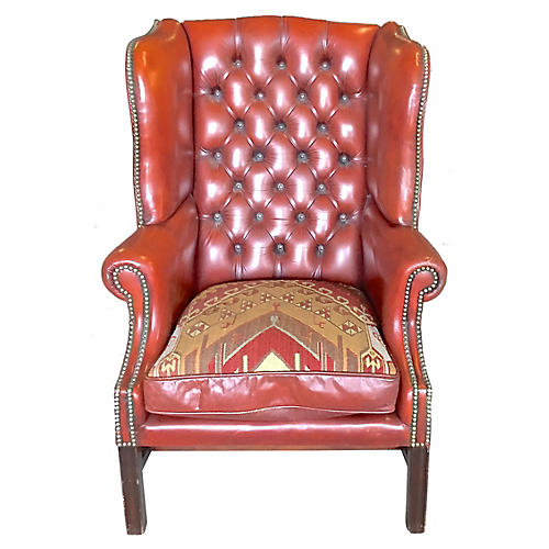 Red Leather Wingback Chair