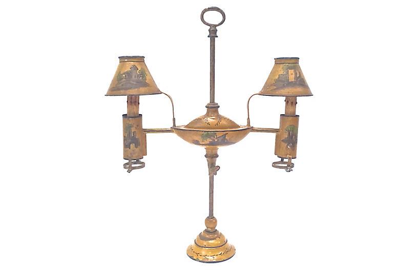 Antique 2-Light Tole Bouillotte Lamp