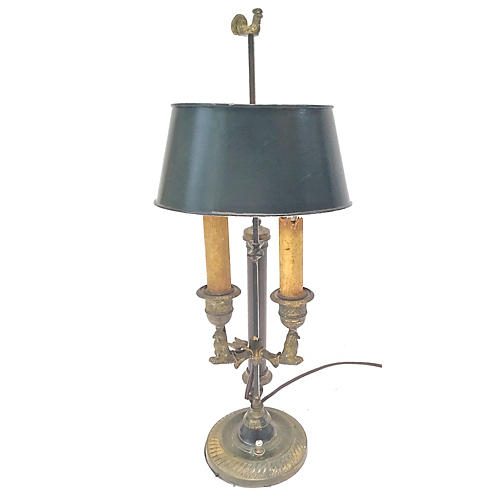 Rooster Double-Arm Tole Bouillotte Lamp