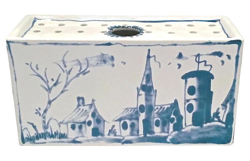 Delft-Style Blue & White Stem Vase