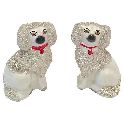 Antique Staffordshire Poodles, Pair