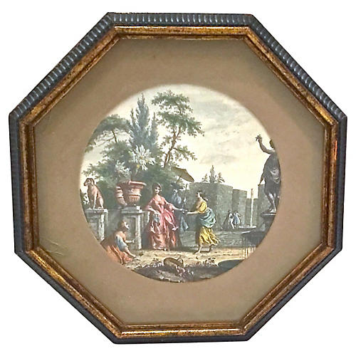 Framed French Garden Scene Engraving