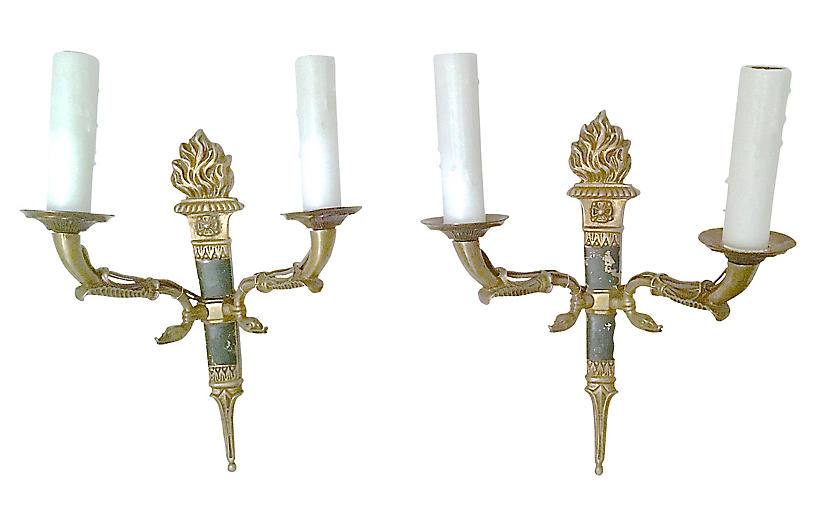 French Empire Torch & Swan Sconces, Pair