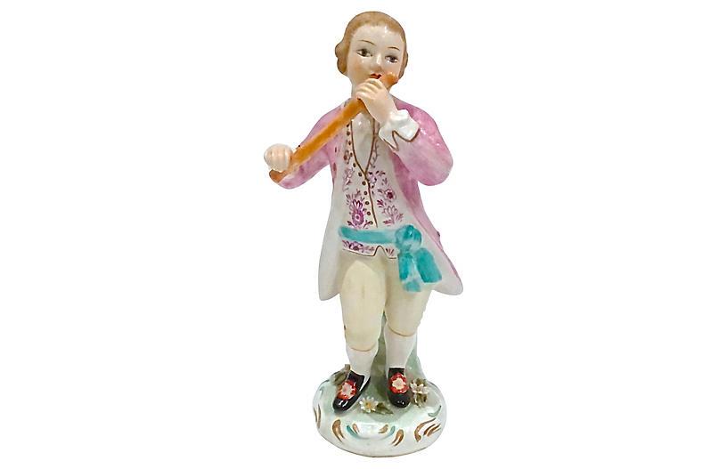Italian Hand-Painted Flutist Figurine