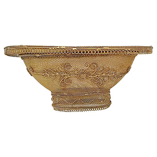 Gilt Brass Wire Basket