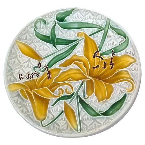 English Majolica Lily Plate