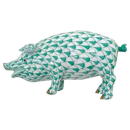 Herend Porcelain Pig Figurine