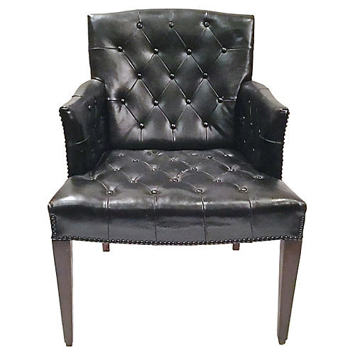 Tufted Leather Bergère