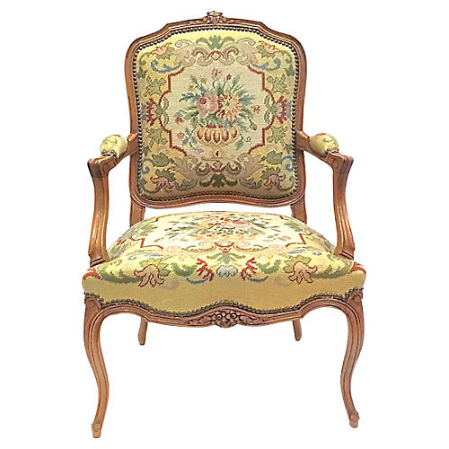 Antique Floral Needlepoint Armchair