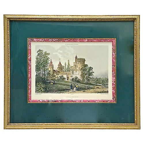 Antique Normandy Chateau Engraving
