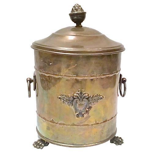 Antique Lidded Brass Coal Hod