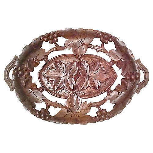 Carved Black Forest Pierced Leaf Basket
