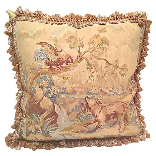 Aubusson Dog & Rooster Pillow