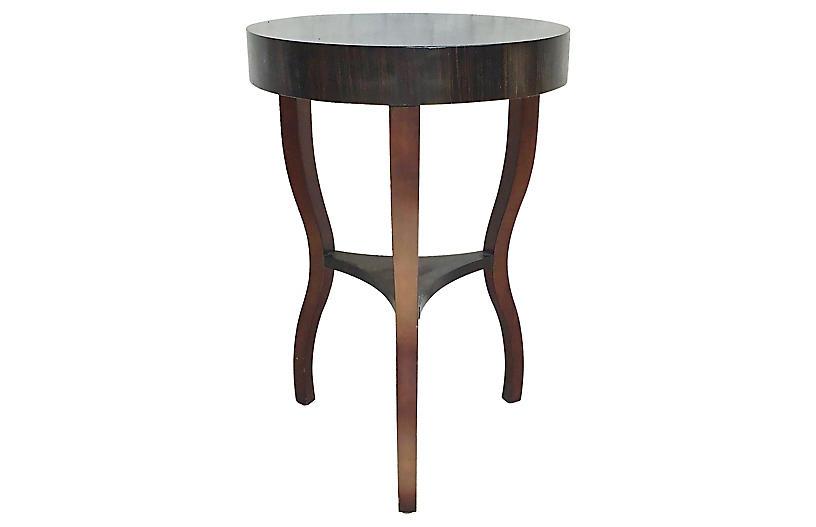 Round Macassar Ebony Side Table