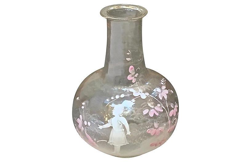 M. Gregory Enamel Painted Glass Vase