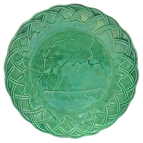 Antique Majolica Oak Leaf Plate