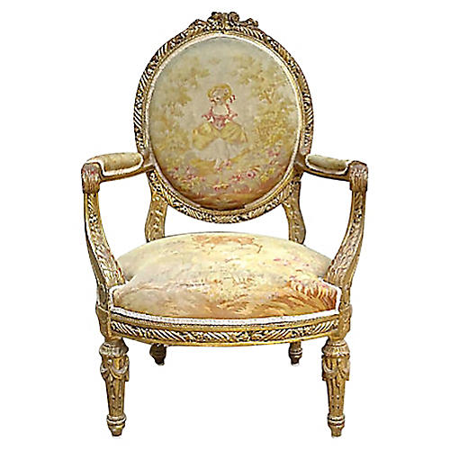 Antique French Aubusson Fauteuil