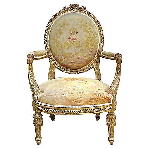 Antique French Aubusson Fauteuil