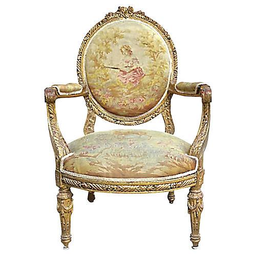 Antique Aubusson Fauteuil