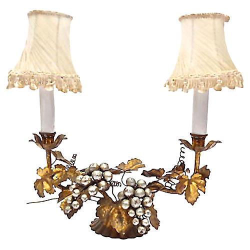 Tole Grapevine Table Lamp