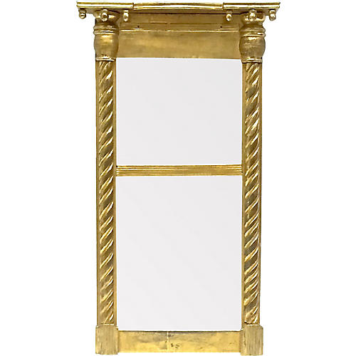 Antique Gothic Gilt Spiral Column Mirror