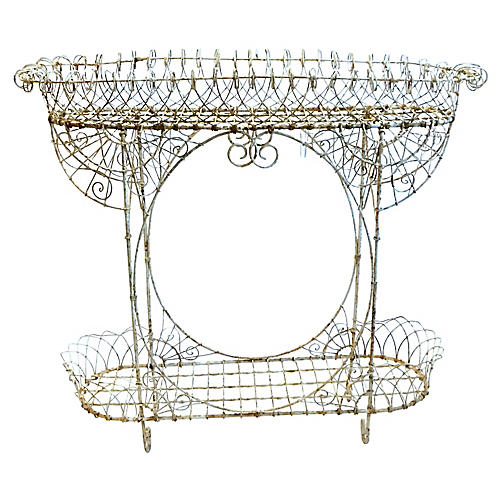 Antique French Wire Console Planter