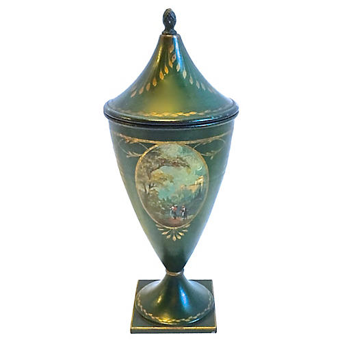 Hand-Painted Tole Chestnut Urn