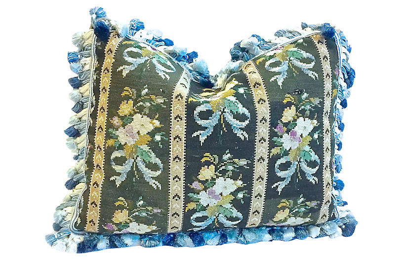 Floral & Fringe Needlepoint Pillow