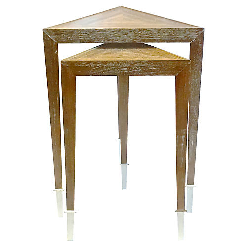 MCM Triangular Wood Nesting Tables, PR