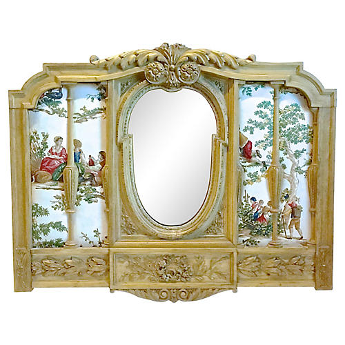 Antique Carved & Upholstered Wall Mirror