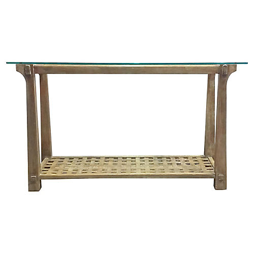 Cerused Wood & Woven Console Table