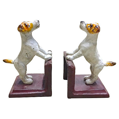 Cast Iron Terrier Dog Book Ends, PR